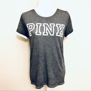 PINK VS Jersey Top Gray & White Oversized